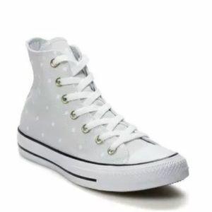 Converse Pure Platinum Polka Dot Hi Top Sneakers